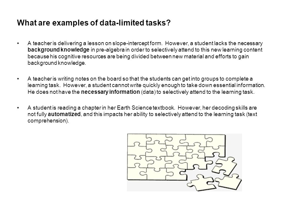 What are examples of data-limited tasks? A teacher is delivering a lesson on slope-intercept form. However, a student lacks the necessary background k