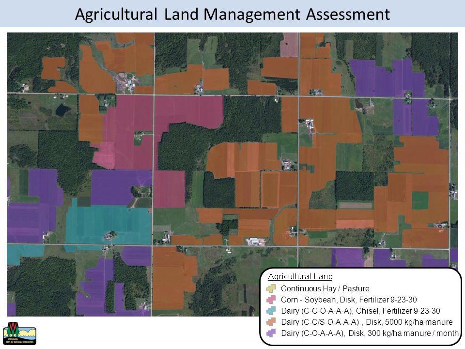 Continuous Hay / Pasture Corn - Soybean, Disk, Fertilizer 9-23-30 Dairy (C-C-O-A-A-A), Chisel, Fertilizer 9-23-30 Dairy (C-C/S-O-A-A-A), Disk, 5000 kg/ha manure Dairy (C-O-A-A-A), Disk, 300 kg/ha manure / month Agricultural Land Management Assessment