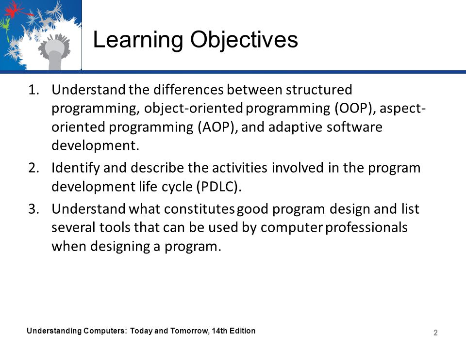 Learning Objectives 1.Understand the differences between structured programming, object-oriented programming (OOP), aspect- oriented programming (AOP), and adaptive software development.