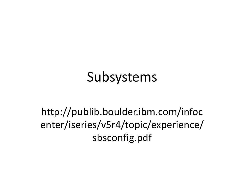Subsystems http://publib.boulder.ibm.com/infoc enter/iseries/v5r4/topic/experience/ sbsconfig.pdf