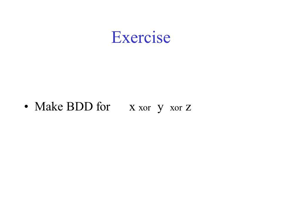 Exercise Make BDD for x xor y xor z