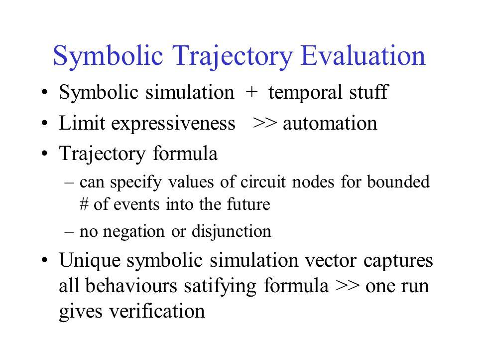 Symbolic Trajectory Evaluation Symbolic simulation + temporal stuff Limit expressiveness >> automation Trajectory formula –can specify values of circu