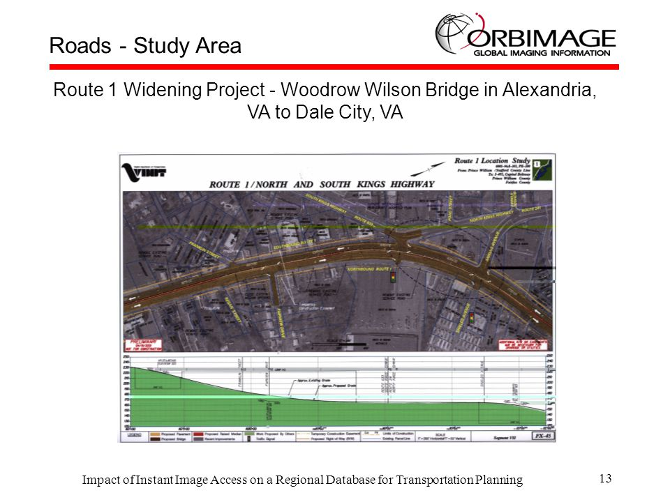Impact of Instant Image Access on a Regional Database for Transportation Planning 13 Roads - Study Area Route 1 Widening Project - Woodrow Wilson Bridge in Alexandria, VA to Dale City, VA