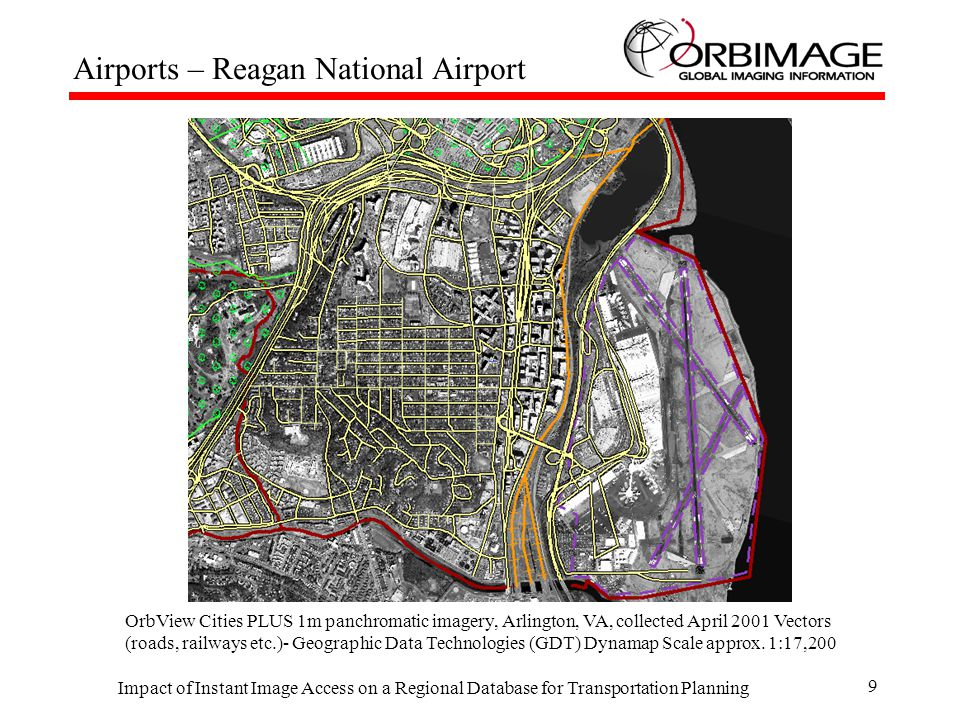 Impact of Instant Image Access on a Regional Database for Transportation Planning 10 Waterports – Newport News OrbView Cities Standard 1m panchromatic imagery, Newport News, VA, collected September, 1999 Vectors (roads, railways) Geographic Data Technologies (GDT) Dynamap Scale approx.