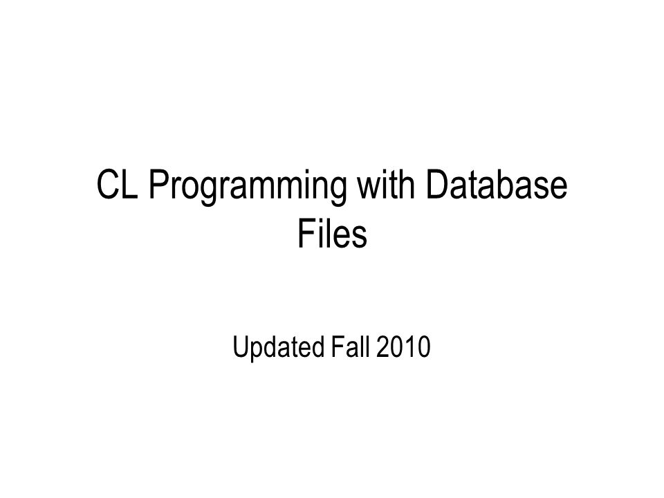 RPG Programming with Database Objects