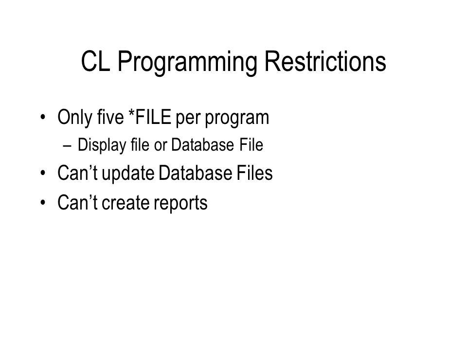 File Commands DCLF - Declares a File e.g.
