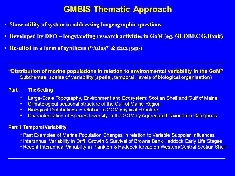 GMBIS Thematic Approach Part IThe Setting Large-Scale Topography, Environment and Ecosystem: Scotian Shelf and Gulf of MaineLarge-Scale Topography, En
