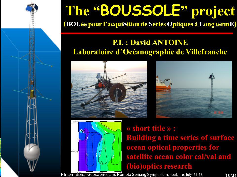 10/34 2003 IEEE International Geoscience and Remote Sensing Symposium, Toulouse, July 21-25, 2003 The BOUSSOLE project ( BOUée pour l'acquiSition de Séries Optiques à Long termE ) P.I.