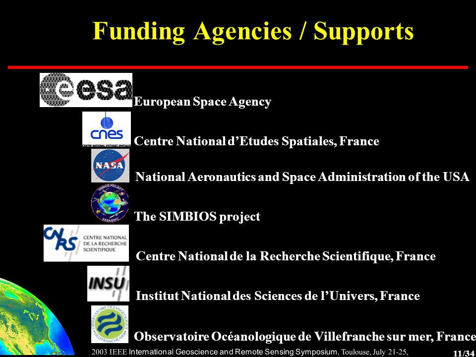 11/34 2003 IEEE International Geoscience and Remote Sensing Symposium, Toulouse, July 21-25, 2003 Funding Agencies / Supports European Space Agency Centre National d'Etudes Spatiales, France National Aeronautics and Space Administration of the USA The SIMBIOS project Centre National de la Recherche Scientifique, France Institut National des Sciences de l'Univers, France Observatoire Océanologique de Villefranche sur mer, France