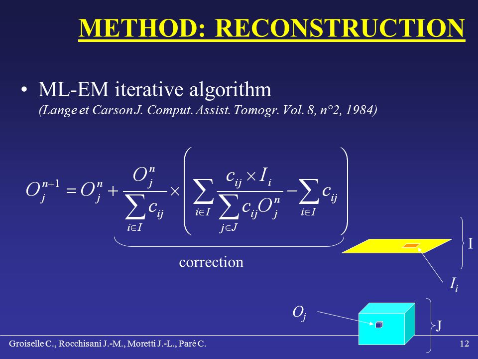 Groiselle C., Rocchisani J.-M., Moretti J.-L., Paré C.11 METHOD: DECODING Decoding is in relation with: System geometry: focal distance, pinhole Voxels: 4.5 x 4.5 x 4.5 mm 3 Pixels: 2.25 mm for a 256x256 matrix Pixels: 4.52 mm for a 128x128 matrix