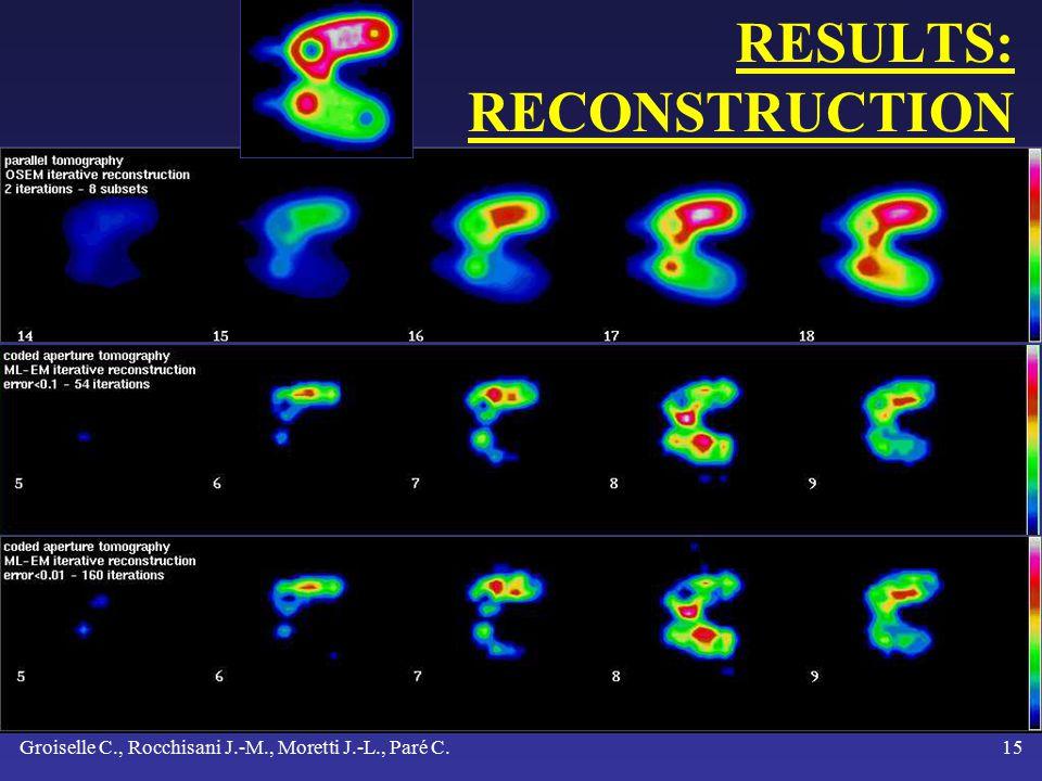 Groiselle C., Rocchisani J.-M., Moretti J.-L., Paré C.14 RESULTS: RECONSTRUCTION 29 slices 39 x 29 matrix voxel size: 4.5 mm IBM work station