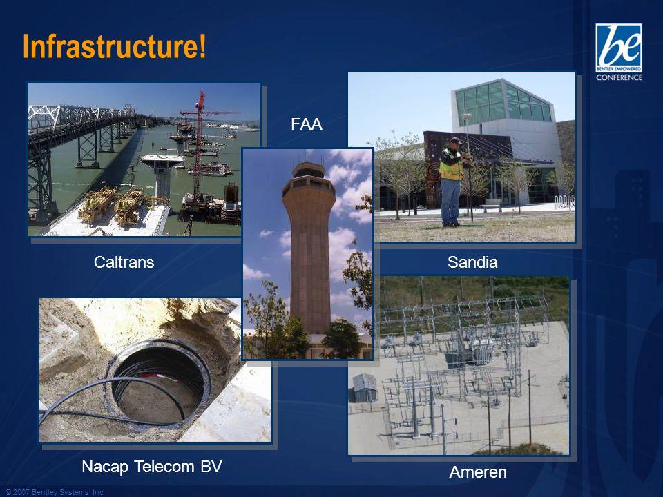 © 2007 Bentley Systems, Inc. Infrastructure! Caltrans FAA Ameren Nacap Telecom BV Sandia