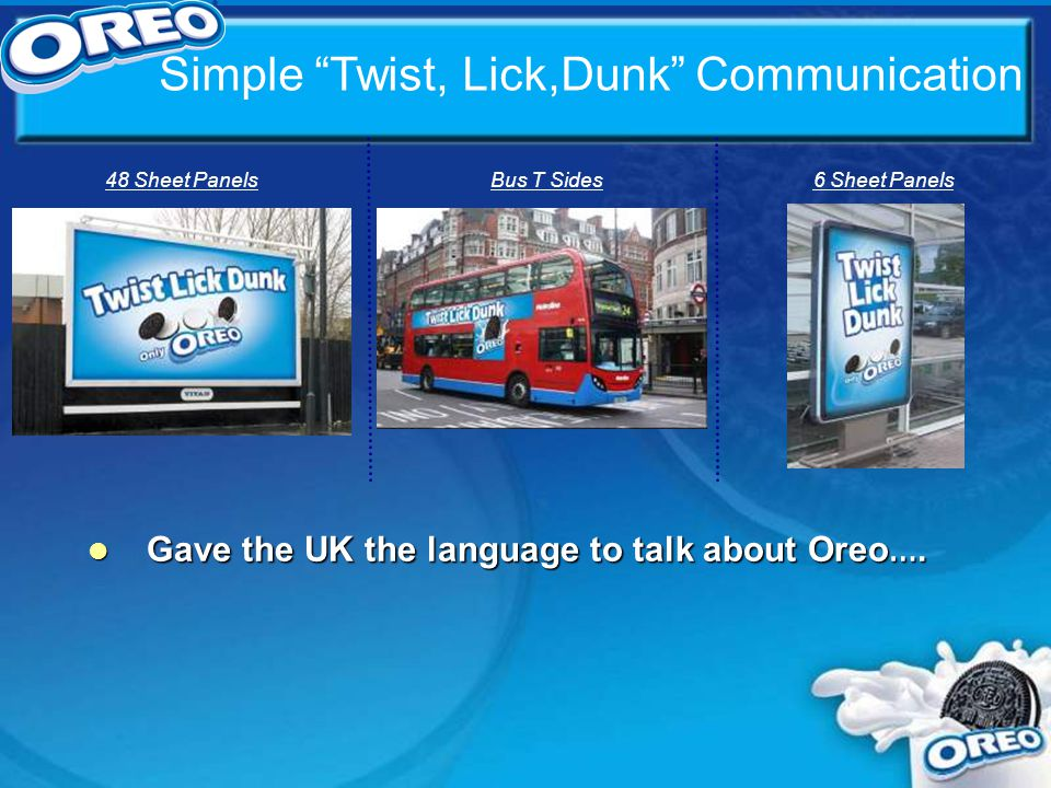 Simple Twist, Lick,Dunk Communication 48 Sheet PanelsBus T Sides6 Sheet Panels l Gave the UK the language to talk about Oreo ….