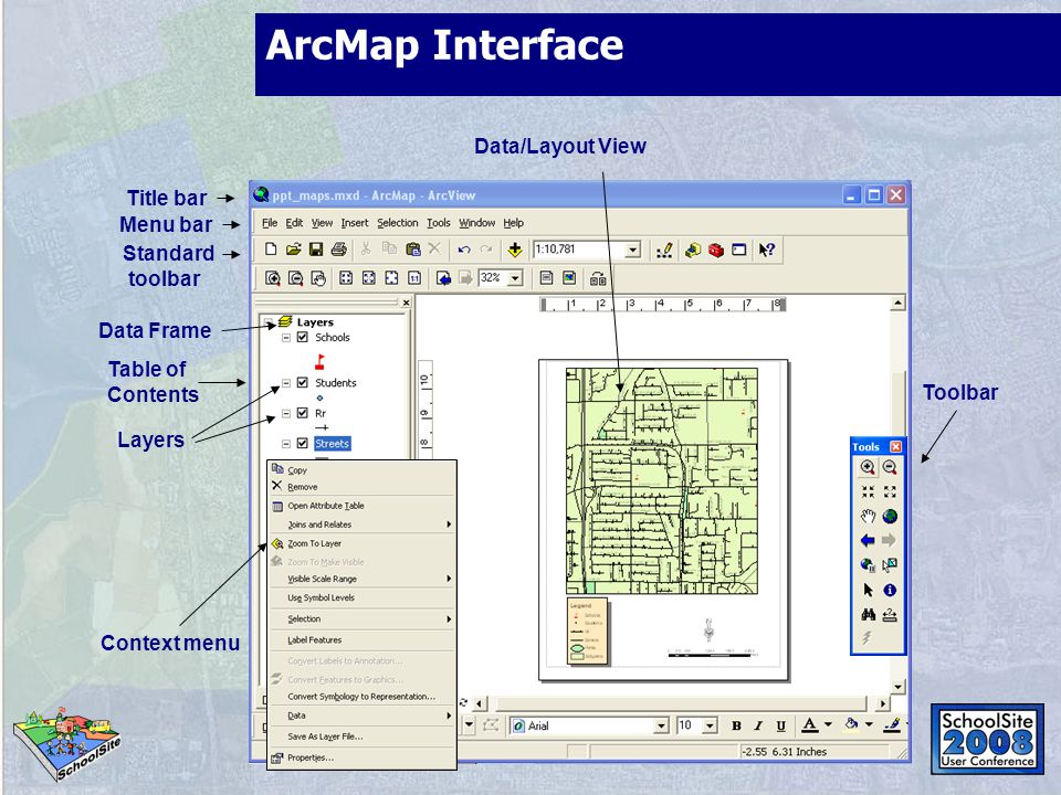 ArcMap Interface Data/Layout View Context menu Menu bar Title bar Data Frame Standard toolbar Layers Table of Contents Toolbar