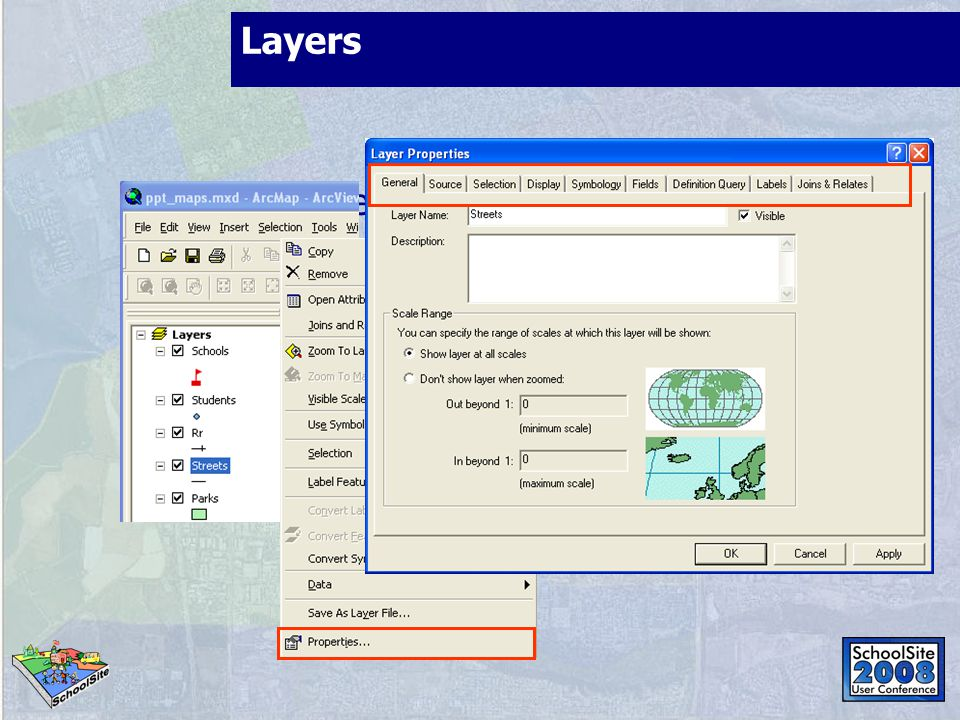 Layers Reference spatial data sources: shapefiles, geodatabase feature classes, imagery, etc.