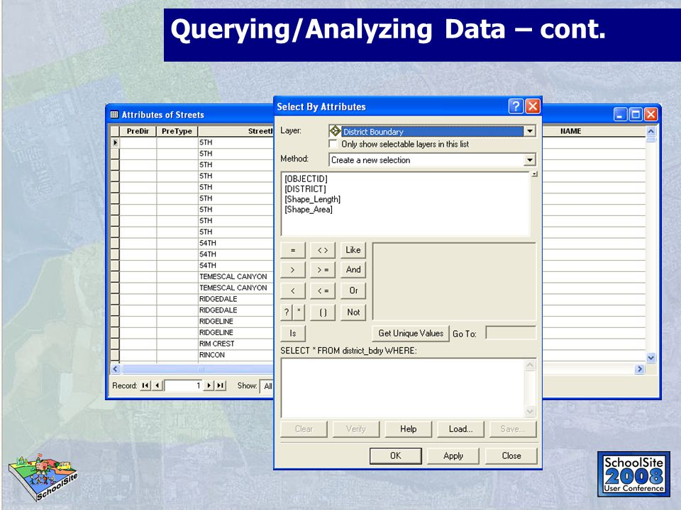 Querying/Analyzing Data – cont.