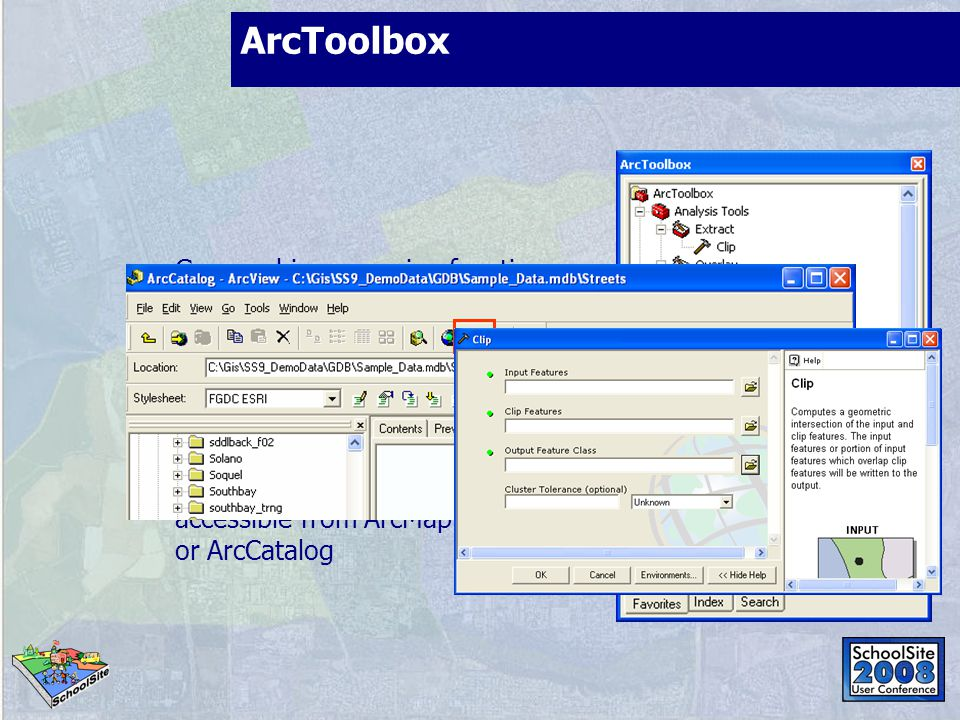 ArcToolbox Geographic processing functions Data management and conversion tools Tools and Wizards Tools vary with ArcGIS products A dockable window accessible from ArcMap or ArcCatalog