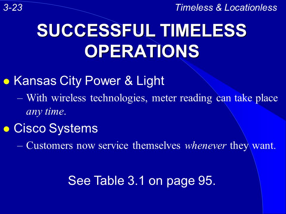 SUCCESSFUL TIMELESS OPERATIONS l Kansas City Power & Light –With wireless technologies, meter reading can take place any time. l Cisco Systems –Custom