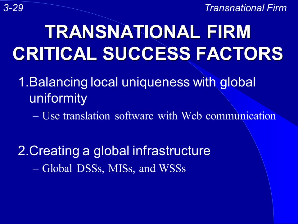 TRANSNATIONAL FIRM CRITICAL SUCCESS FACTORS 1.Balancing local uniqueness with global uniformity –Use translation software with Web communication 2.Cre