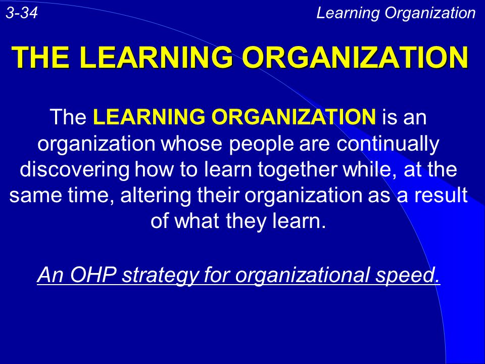 THE LEARNING ORGANIZATION Learning Organization3-34 The LEARNING ORGANIZATION is an organization whose people are continually discovering how to learn