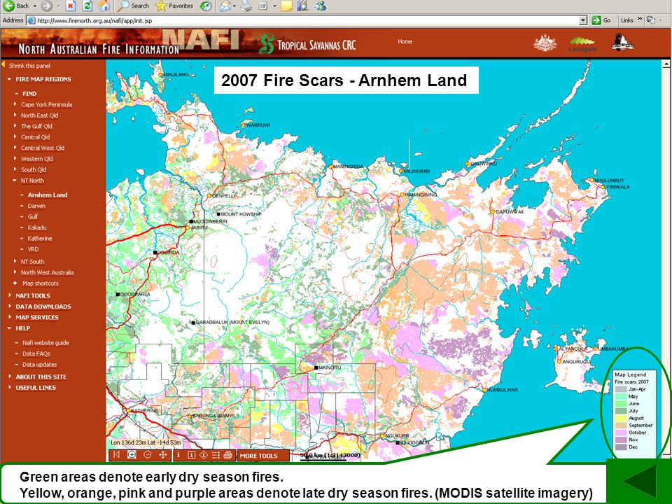 Green areas denote early dry season fires.