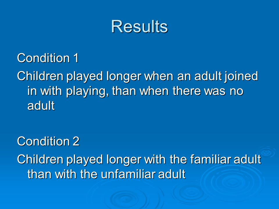 Results Condition 1 Children played longer when an adult joined in with playing, than when there was no adult Condition 2 Children played longer with the familiar adult than with the unfamiliar adult