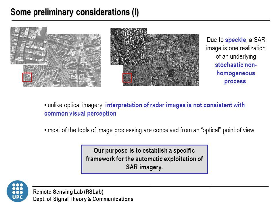 Remote Sensing Lab (RSLab) Dept. of Signal Theory & Communications unlike optical imagery, interpretation of radar images is not consistent with commo