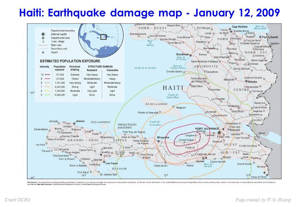 Haiti: Earthquake damage map - January 12, 2009 Page created by W. G. HuangCredit OCHA