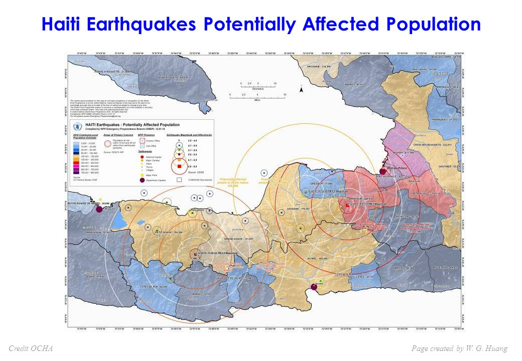 Haiti Earthquakes Potentially Affected Population Page created by W. G. HuangCredit OCHA