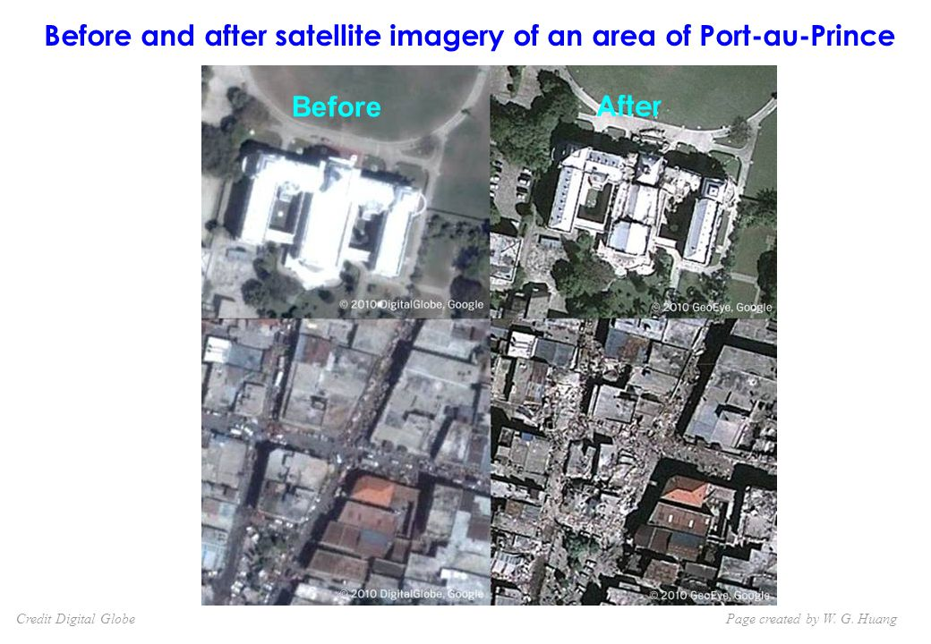 Before and after satellite imagery of an area of Port-au-Prince Page created by W.