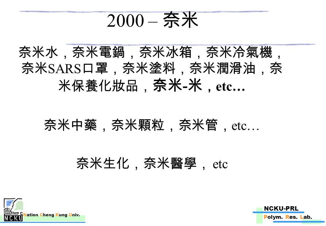 NCKU-PRL Polym.Res. Lab. Nation Cheng Kung Univ. 奈米福碳公司 -2003 奈米科技論壇 Dr.