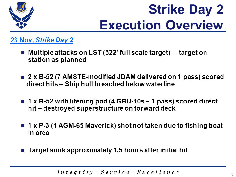 I n t e g r i t y - S e r v i c e - E x c e l l e n c e 10 Strike Day 2 Execution Overview 23 Nov, Strike Day 2 Multiple attacks on LST (522' full scale target) – target on station as planned 2 x B-52 (7 AMSTE-modified JDAM delivered on 1 pass) scored direct hits – Ship hull breached below waterline 1 x B-52 with litening pod (4 GBU-10s – 1 pass) scored direct hit – destroyed superstructure on forward deck 1 x P-3 (1 AGM-65 Maverick) shot not taken due to fishing boat in area Target sunk approximately 1.5 hours after initial hit