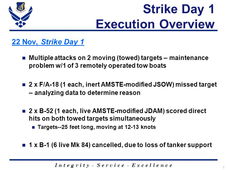 I n t e g r i t y - S e r v i c e - E x c e l l e n c e 7 Strike Day 1 Execution Overview 22 Nov, Strike Day 1 Multiple attacks on 2 moving (towed) targets – maintenance problem w/1 of 3 remotely operated tow boats 2 x F/A-18 (1 each, inert AMSTE-modified JSOW) missed target – analyzing data to determine reason 2 x B-52 (1 each, live AMSTE-modified JDAM) scored direct hits on both towed targets simultaneously Targets--25 feet long, moving at 12-13 knots 1 x B-1 (6 live Mk 84) cancelled, due to loss of tanker support
