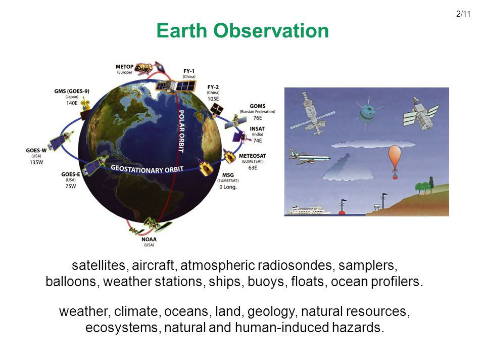 main societal benefits derived by a coordinated global observation system reducing loss of life and property from natural and human-induced disasters; understanding environmental factors affecting human health and well being; improving management of energy resources; understanding, assessing, predicting, mitigating climate variability and change; improving water resource management by better understanding of water cycle; improving weather information, forecasting, warning; improving the management of terrestrial, coastal, marine ecosystems; supporting sustainable agriculture and combating desertification; understanding, monitoring, conserving biodiversity.