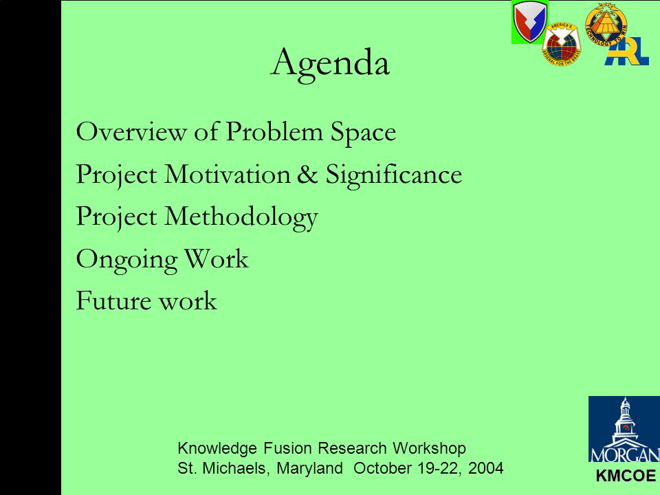 Knowledge Fusion Research Workshop St. Michaels, Maryland October 19-22, 2004 KMCOE Agenda Overview of Problem Space Project Motivation & Significance