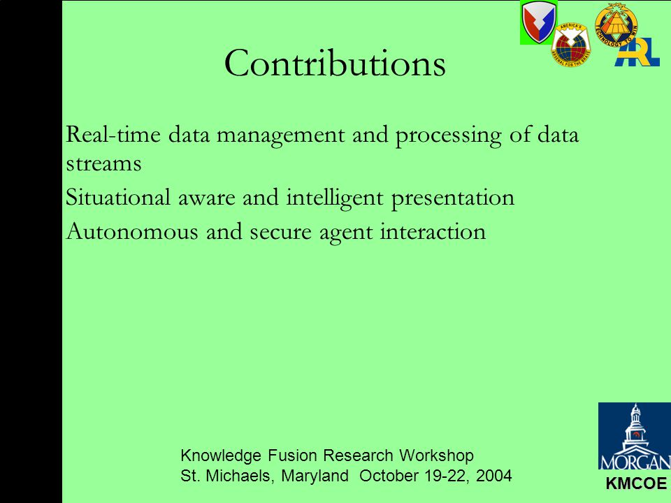 Knowledge Fusion Research Workshop St. Michaels, Maryland October 19-22, 2004 KMCOE Contributions Real-time data management and processing of data str
