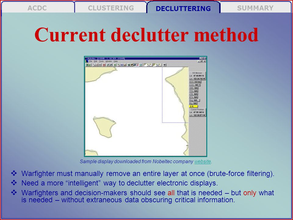 SUMMARY DECLUTTERING CLUSTERINGACDC Current declutter method Sample display downloaded from Nobeltec company website.website  Warfighter must manually remove an entire layer at once (brute-force filtering).