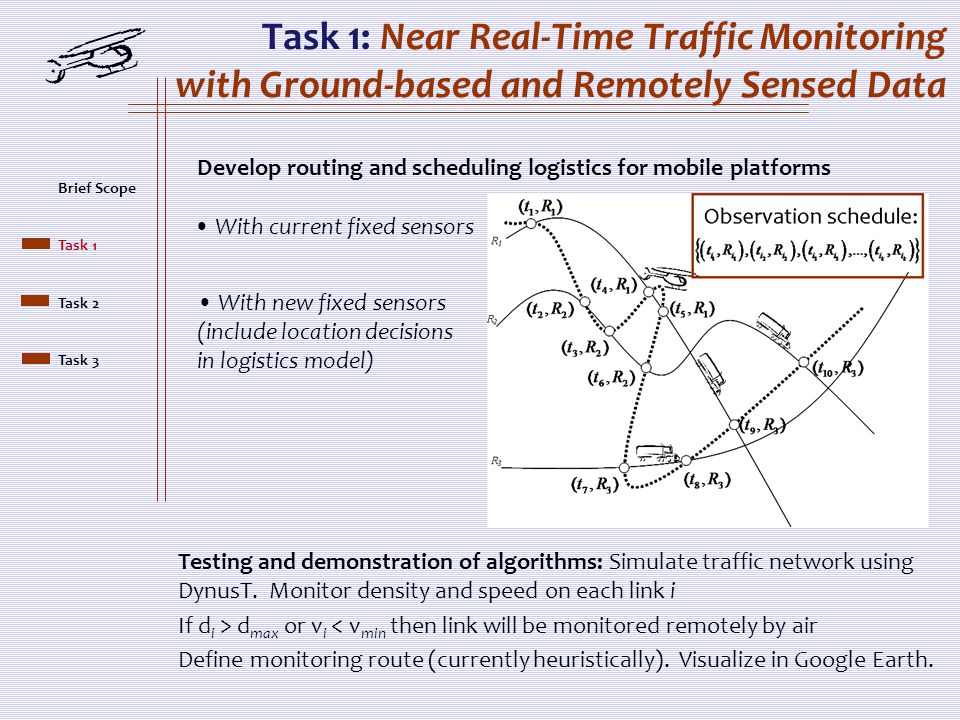 Task 1: Near Real-Time Traffic Monitoring with Ground-based and Remotely Sensed Data Develop routing and scheduling logistics for mobile platforms Wit
