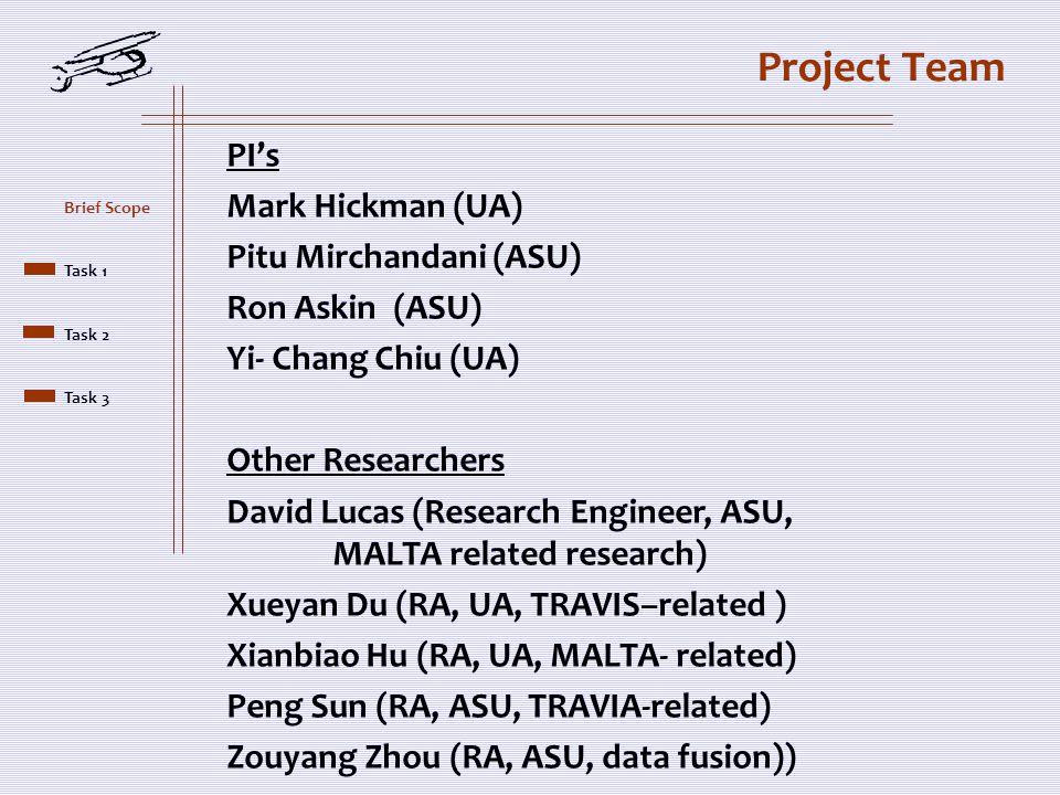 Project Team PI's Mark Hickman (UA) Pitu Mirchandani (ASU) Ron Askin (ASU) Yi- Chang Chiu (UA) Other Researchers David Lucas (Research Engineer, ASU,
