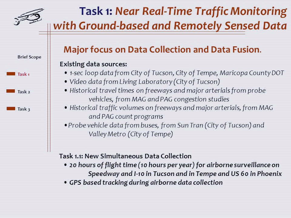 Task 1: Near Real-Time Traffic Monitoring with Ground-based and Remotely Sensed Data Major focus on Data Collection and Data Fusion.