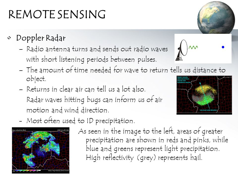 REMOTE SENSING Doppler Radar –Radio antenna turns and sends out radio waves with short listening periods between pulses.