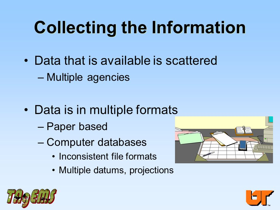 Collecting the Information Data that is available is scattered –Multiple agencies Data is in multiple formats –Paper based –Computer databases Inconsistent file formats Multiple datums, projections