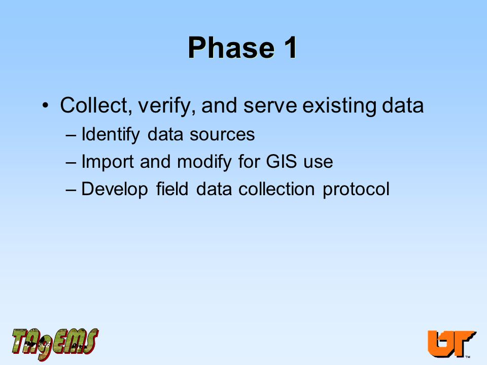 Phase 1 Collect, verify, and serve existing data –Identify data sources –Import and modify for GIS use –Develop field data collection protocol