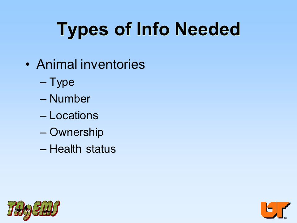 Types of Info Needed Animal inventories –Type –Number –Locations –Ownership –Health status