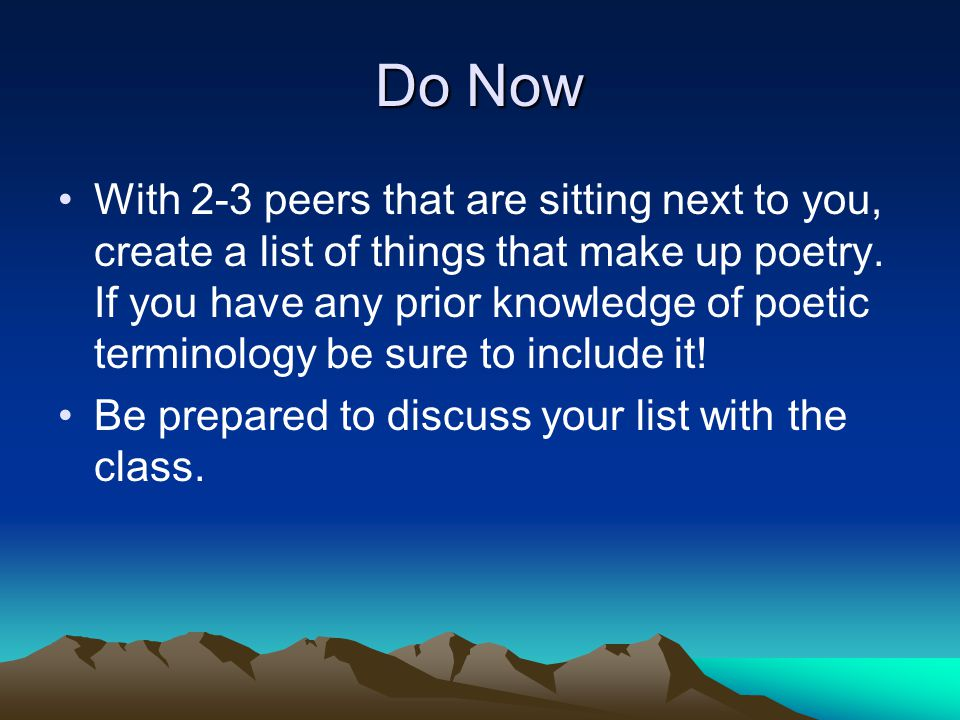 Terms to Know: Poetry