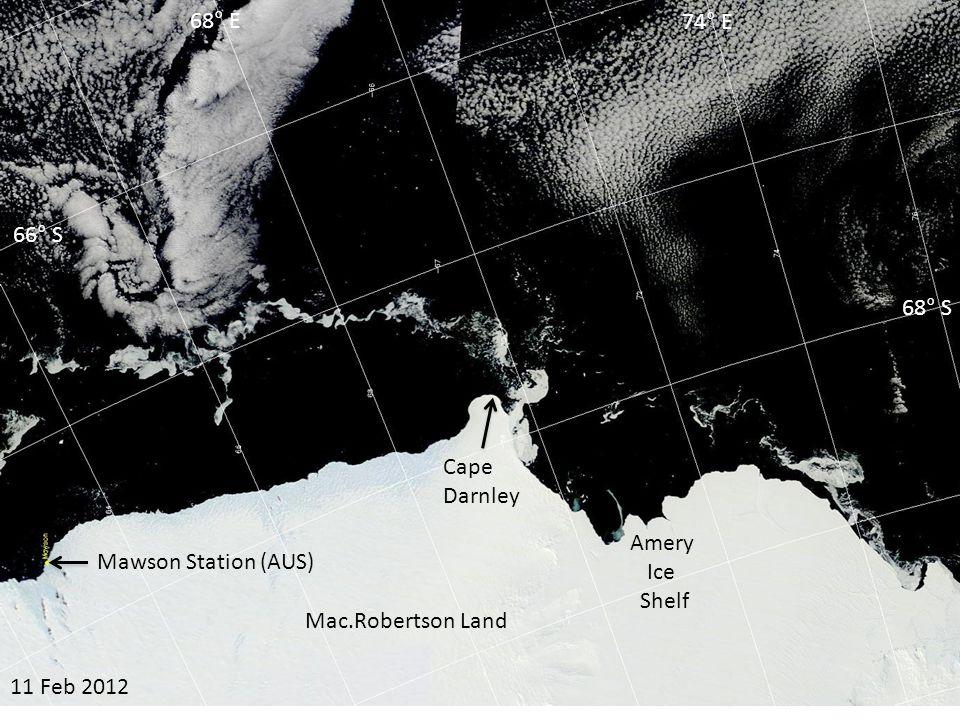 03 Mar 2012 Amery Ice Shelf Cape Darnley 66° S 68° S 68° E 74° E Mac.Robertson Land Mawson Station (AUS)