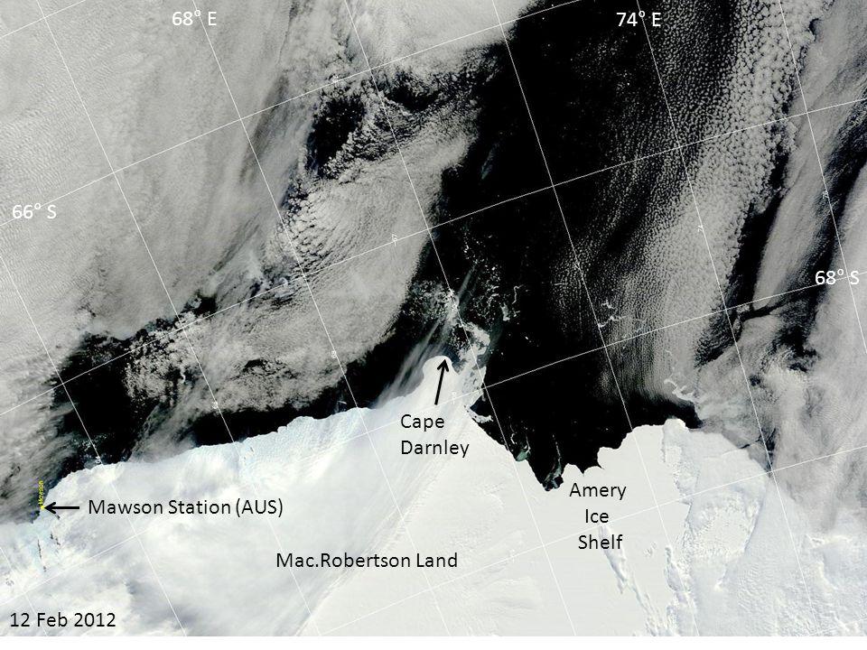 04 Mar 2012 Amery Ice Shelf Cape Darnley 66° S 68° S 68° E 74° E Mac.Robertson Land Mawson Station (AUS)