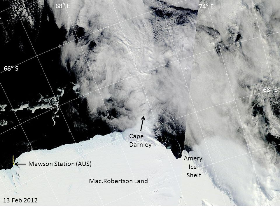 05 Mar 2012 Amery Ice Shelf Cape Darnley 66° S 68° S 68° E 74° E Mac.Robertson Land Mawson Station (AUS)