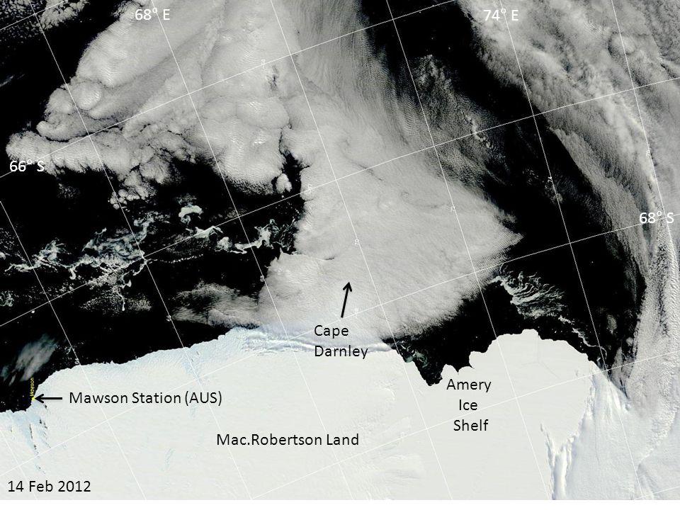 16 Mar 2012 Amery Ice Shelf Cape Darnley 66° S 68° S 68° E 74° E Mac.Robertson Land Mawson Station (AUS)