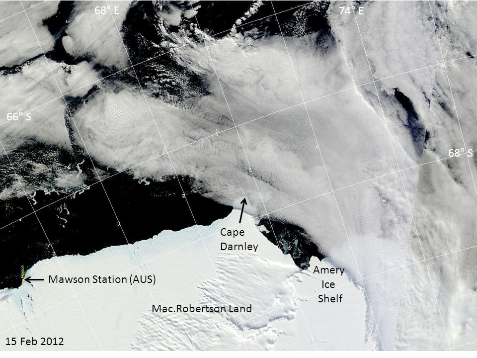07 Mar 2012 Amery Ice Shelf Cape Darnley 66° S 68° S 68° E 74° E Mac.Robertson Land Mawson Station (AUS)